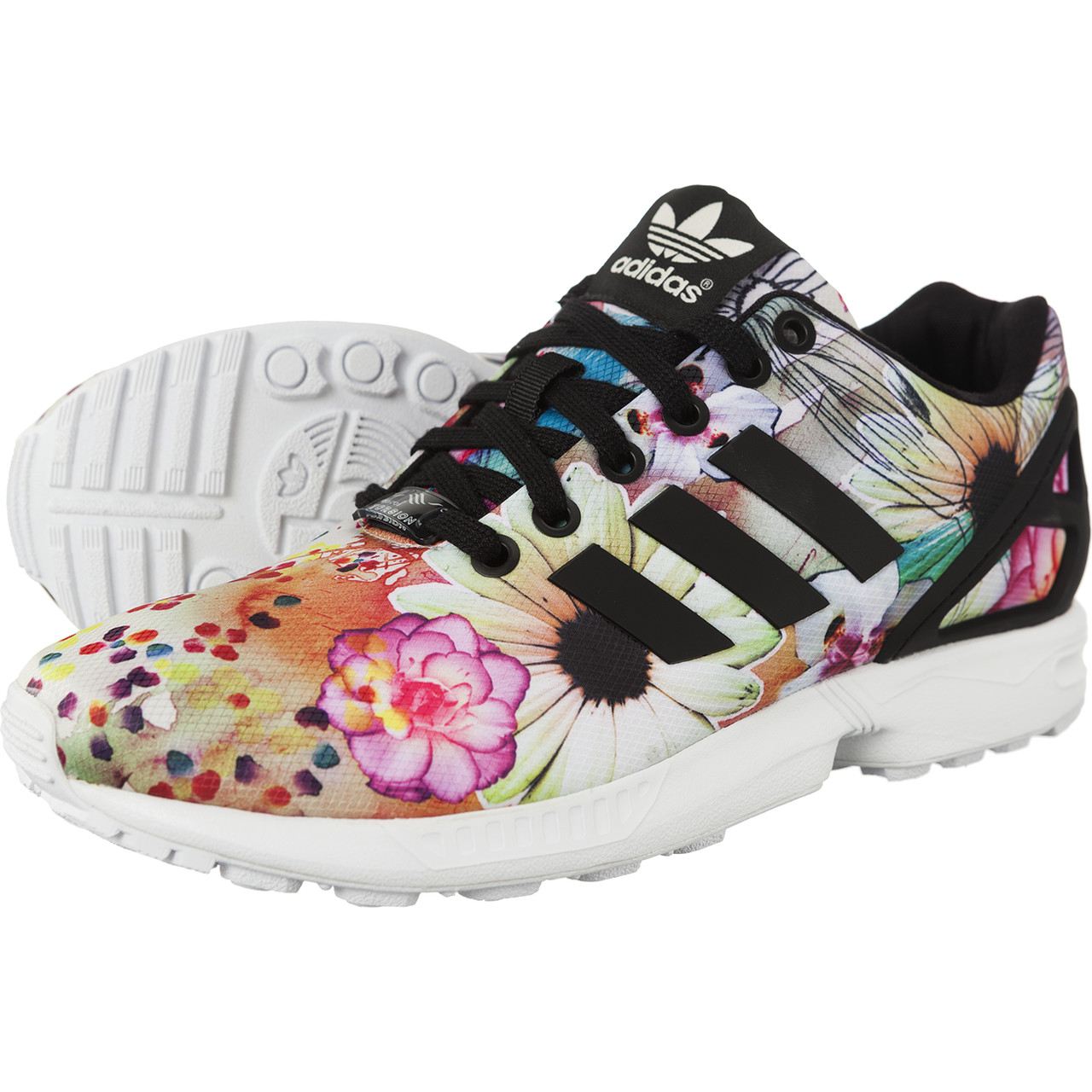 a2ef4b9a0975a Adidas Originals ZX Flux Womens Floral Trainers The Farm Company in ...