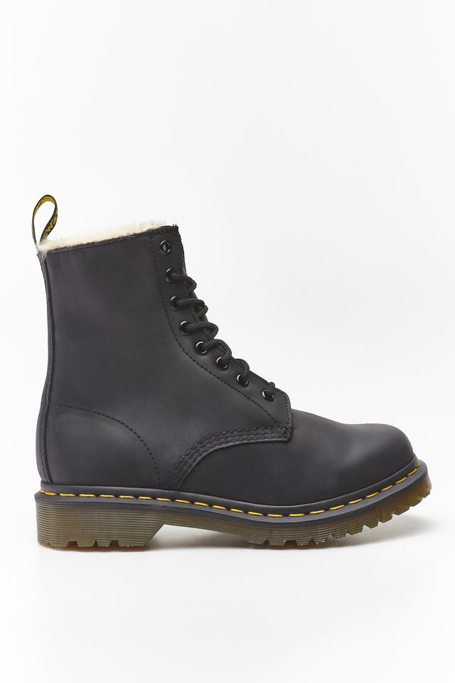 Dr. Martens FUR-LINED 1460 SERENA BLACK BURNISHED DM21797001