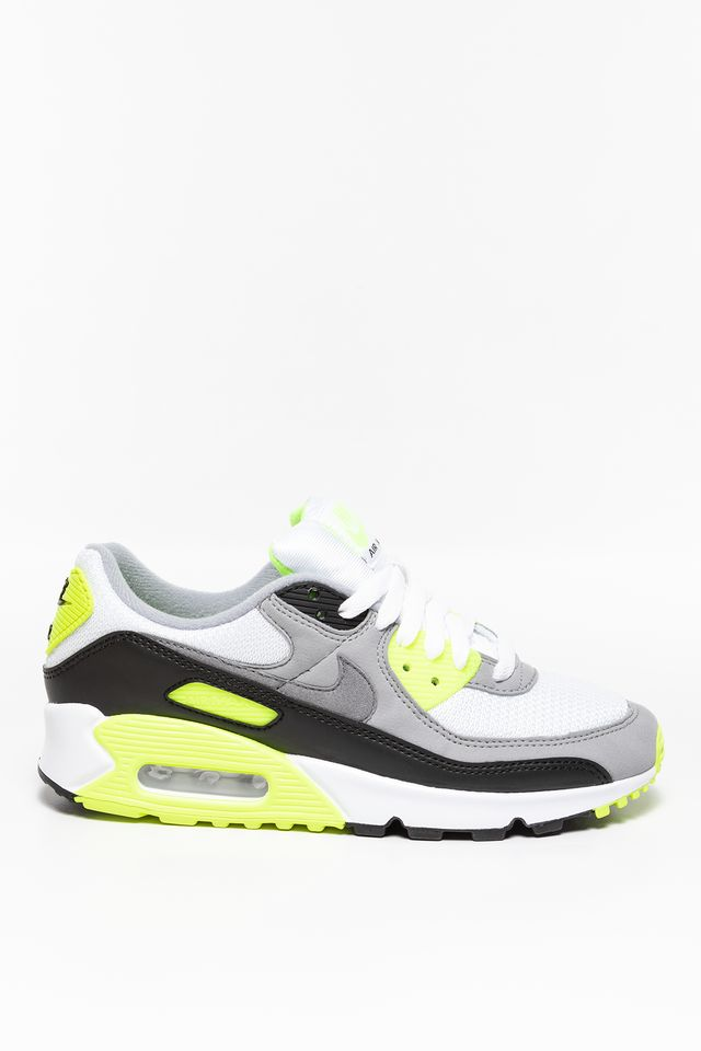 WHITE / BRIGHT GREEN-YELLOW / BLACK / PARTICLE GREY W Air Max 90 490-101