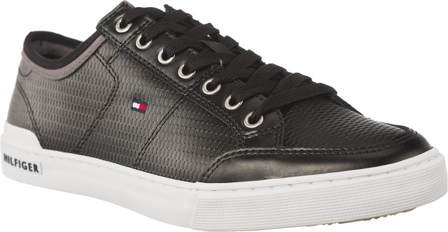 Tommy Hilfiger CORE CORPORATE LEATHER SNEAKER 990 BLACK FM0FM01497-990