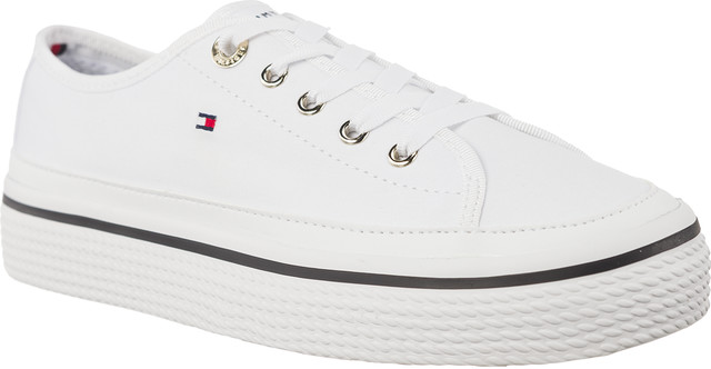 Tommy Hilfiger CORPORATE FLATFORM SNEAKER 100 WHITE FW0FW02456-100
