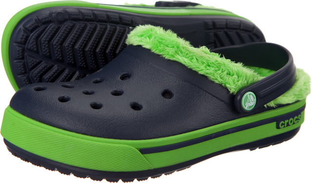 Crocs Kids Crocband 2.5 Winter Clog Navy/Lime Green 12839-479