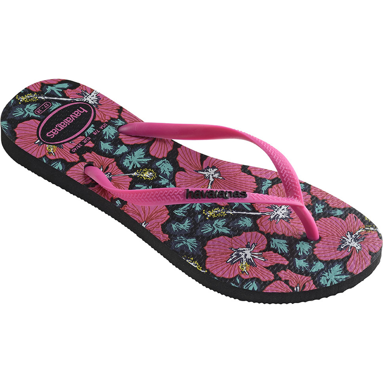 Japonki Havaianas  <br/><small>SLIM FLORAL BLACK/PINK </small>  H41298488906
