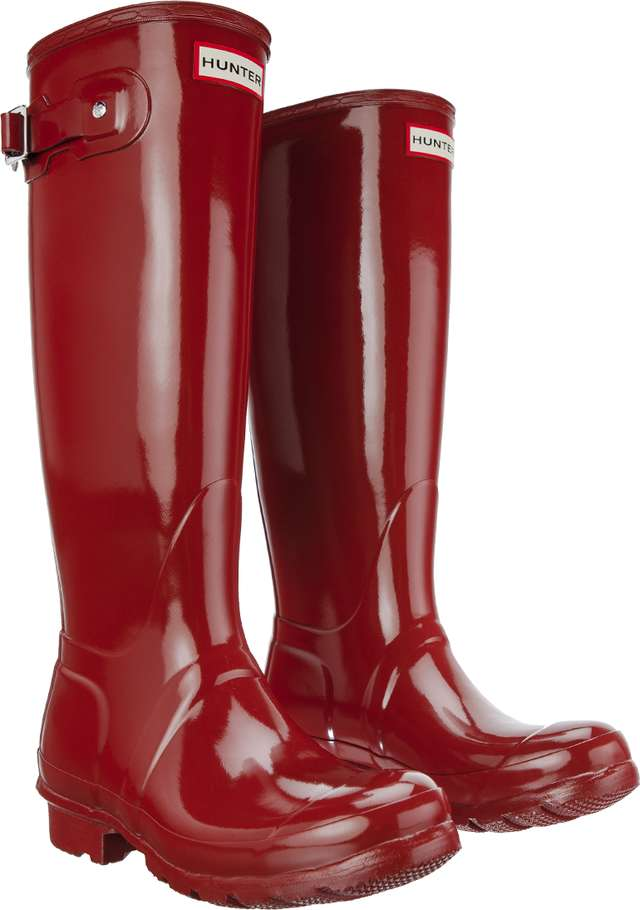 Hunter WOMEN'S ORIGINAL TALL GLOSS MILITARY RED WFT1000RGL