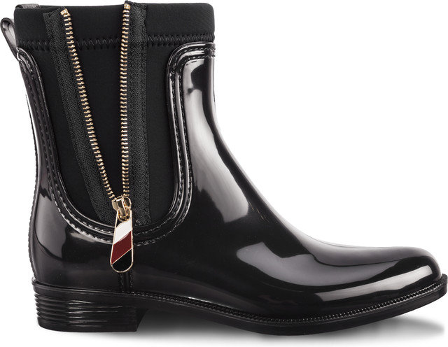Tommy Hilfiger MATERIAL MIX RAIN BOOTS 990 BLACK FW0FW03562-990