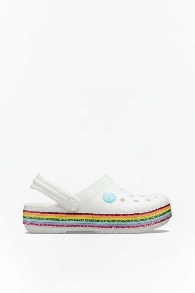 WHITE CROCBAND RAINBOW GLITTER CLOG KIDS 100