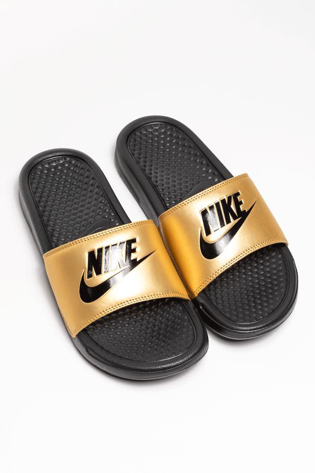 Nike WMNS BENASSI JDI 343881-014 BLACK/METALLIC GOLD