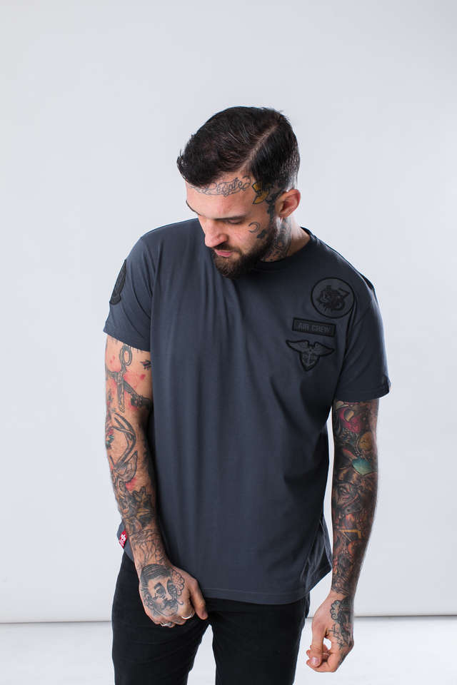 Alpha Industries AIR CREW T 136 GREY BLACK 196519-136