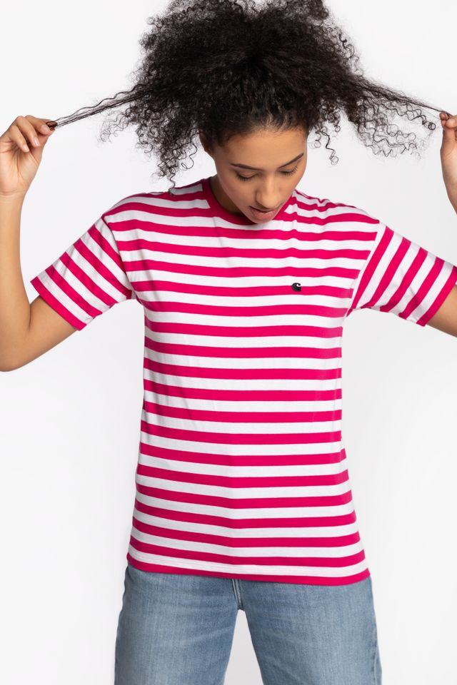 Carhartt WIP W' S/S SCOTTY T-SHIRT 09DST RUBY PINK/WHITE I027841-09DST