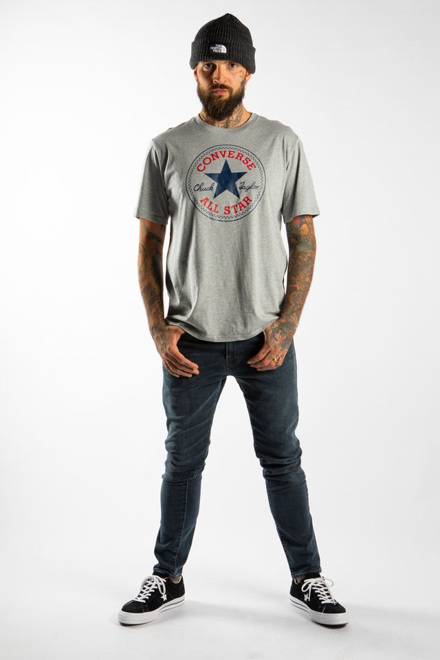 Koszulka Converse  <br/><small>CHUCK PATCH TEE A03 VINTAGE GREY HEATHER </small>  10007887-A03