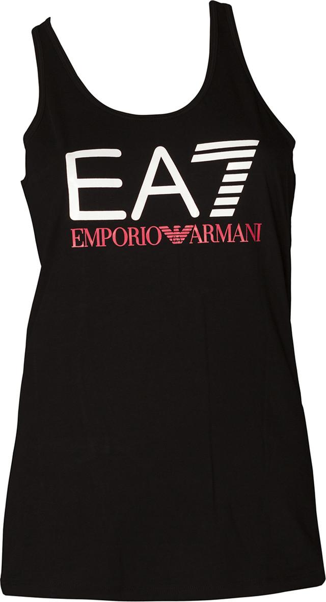 EA7 Emporio Armani TRAIN LOGO SERIES W TANK SHINY PRINT BLACK/CALYPSO CORAL 3ZTH68TJ12Z-1200
