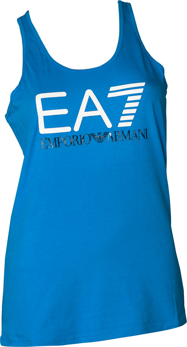 EA7 Emporio Armani TRAIN LOGO SERIES W TANK SHINY PRINT DRESDEN BLUE/WHITE 3ZTH68TJ12Z-1587