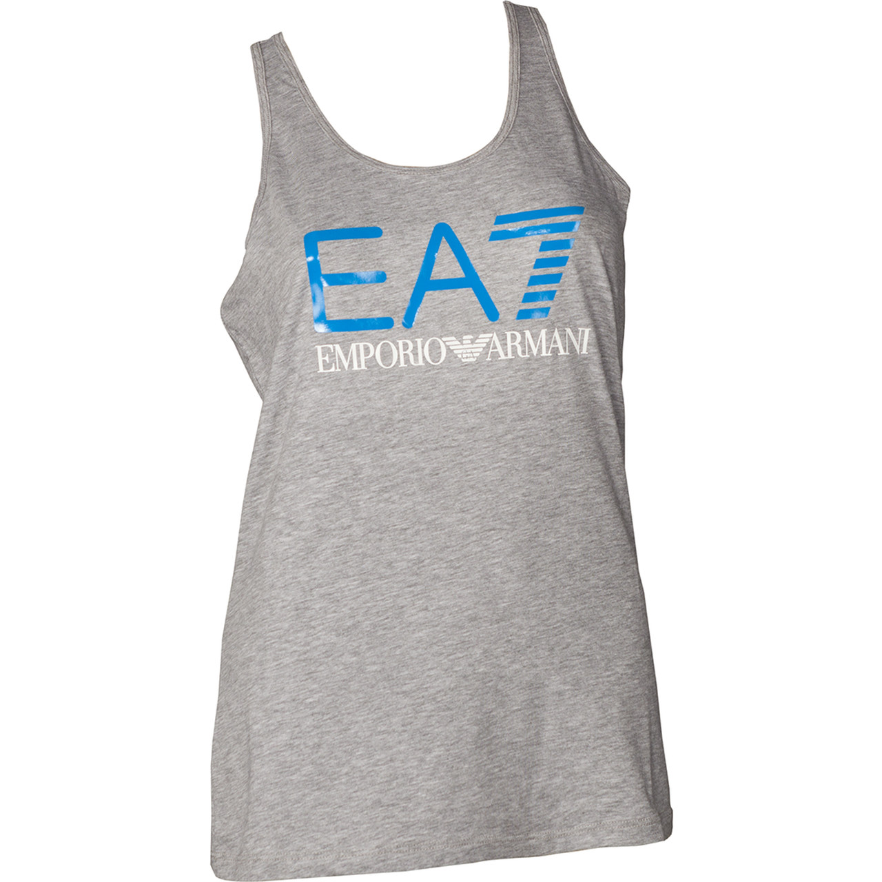 Koszulka EA7 Emporio Armani  <br/><small>TRAIN LOGO SERIES W TANK SHINY PRINT GREY MEL. MEDIUM/DRESDEN BLUE </small>  3ZTH68TJ12Z-3905