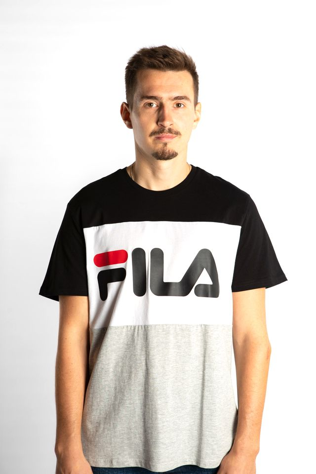 Fila DAY TEE I85 BLACK/LIGHT GREY MELANGE BROS/BRIGHT WHITE 681244-I85