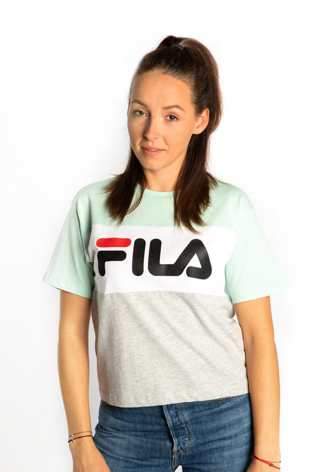 Fila ALLISON TEE A205 LIGHT GREY MELANGE BROS/BRIGHT WHITE/MIST GREEN 682125-A205