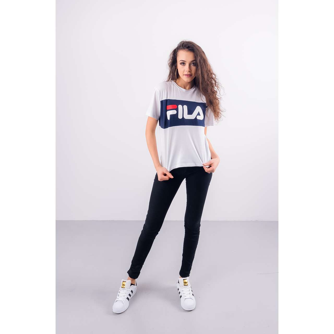 Koszulka Fila  <br/><small>WOMEN ALLISON TEE I98 BRIGHT WHITE/BLACK IRIS </small>  682125-I98