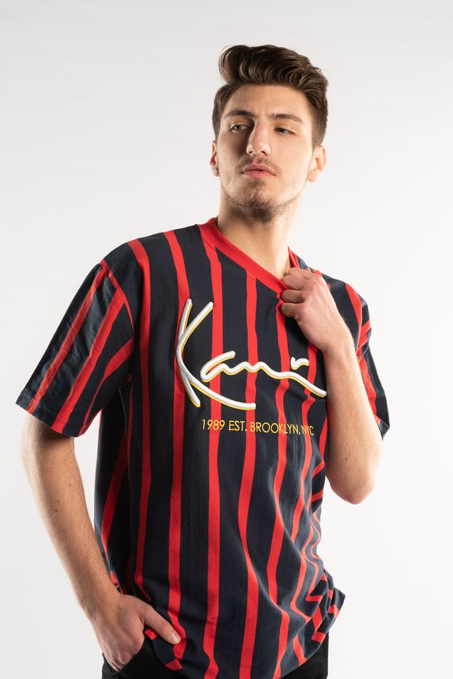 Karl Kani SIGNATURE PINSTRIPE TEE NAVY/RED 6039564