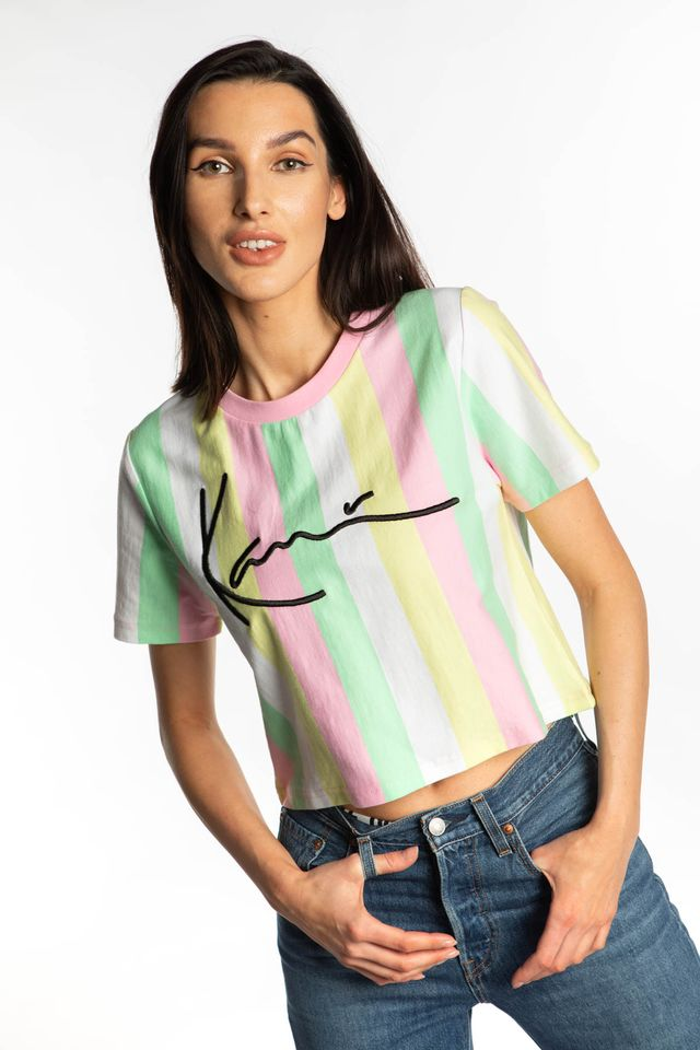 GREEN/WHITE/PINK/YELLOW SIGNATURE STRIPE TEE 112