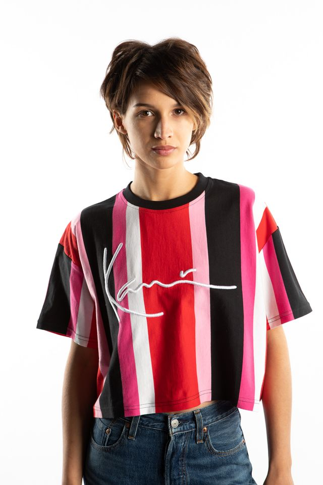 Karl Kani SIGNATURE STRIPE TEE 607 RED/BLACK/PINK/WHITE 6139607
