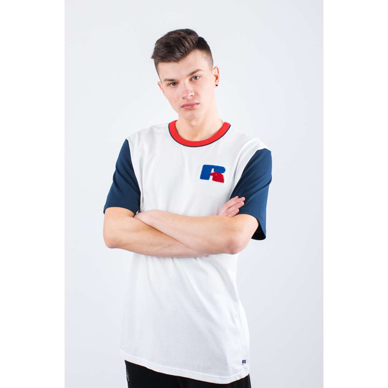 Koszulka Russell Athletic  <br/><small>COLOUR BLOCK TEE 001 WHITE </small>  E96021-001