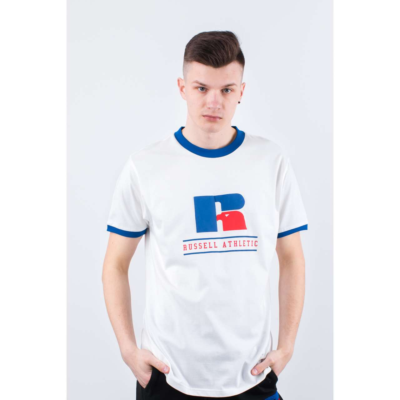 Koszulka Russell Athletic  <br/><small>RINGER TEE 001 WHITE </small>  E96031-001