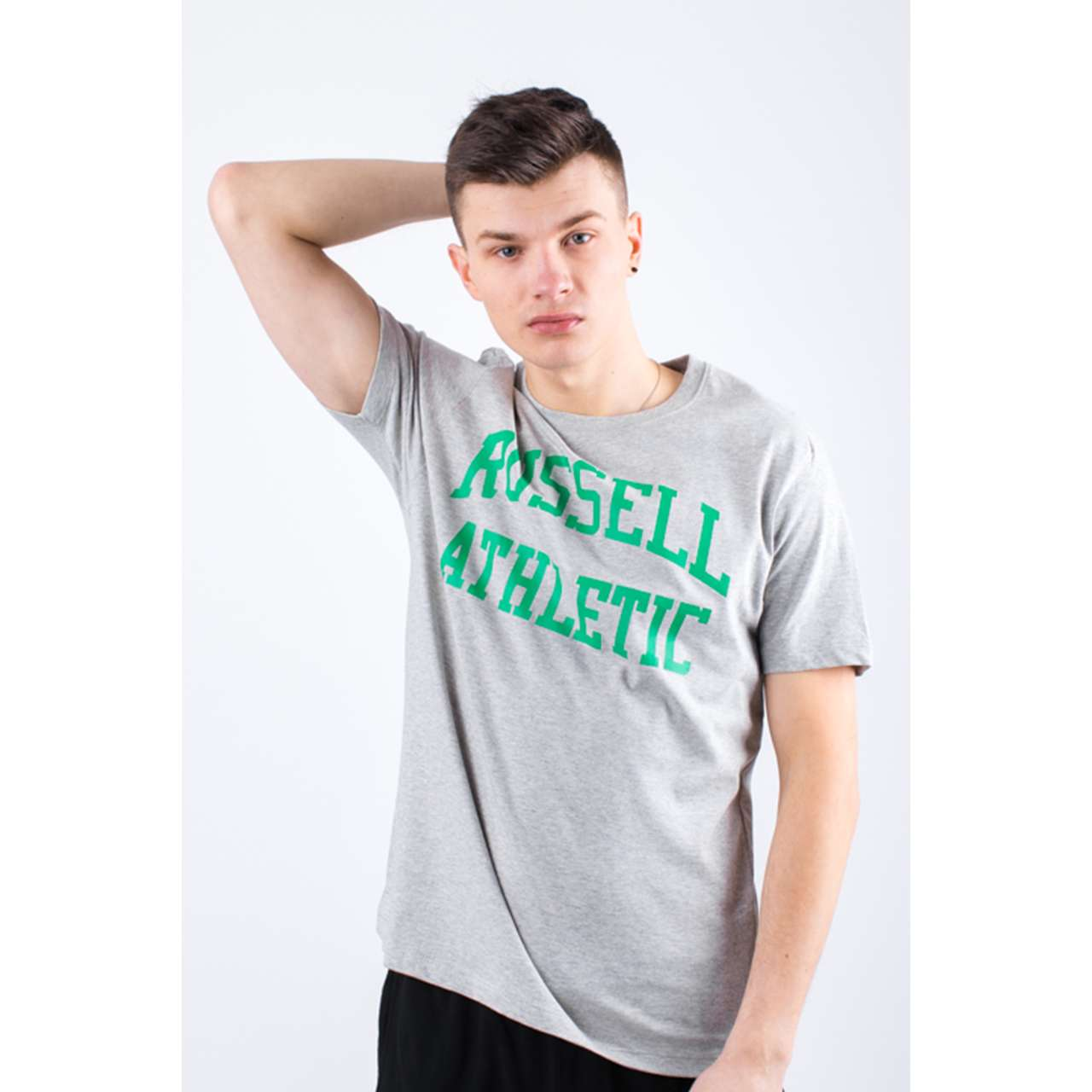 Koszulka Russell Athletic  <br/><small>CREW NECK TEE 091 NEW GREY MARL </small>  A90021F-091