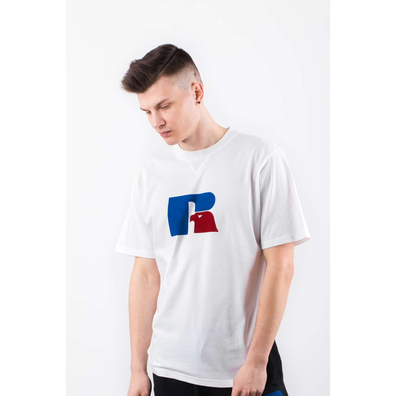 Koszulka Russell Athletic  <br/><small>FLOCK TEE 001 WHITE </small>  E96511-001