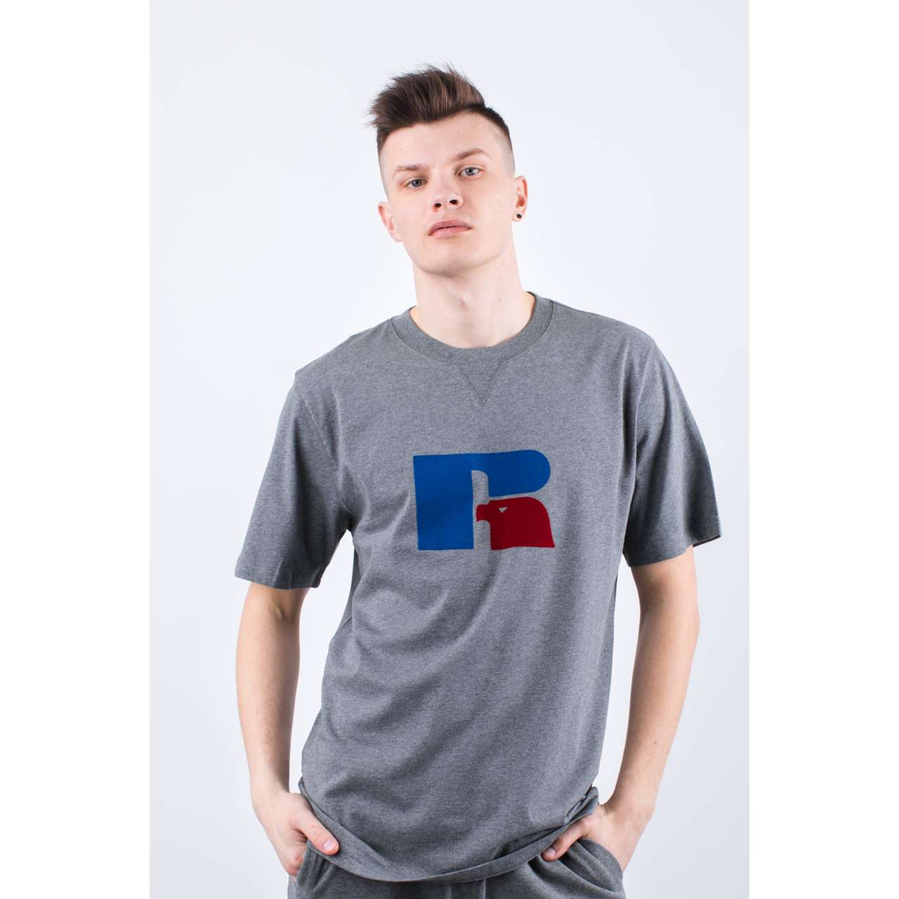 Koszulka Russell Athletic  <br/><small>FLOCK TEE 090 COLLEGIATE GREY MARL </small>  E96511-090