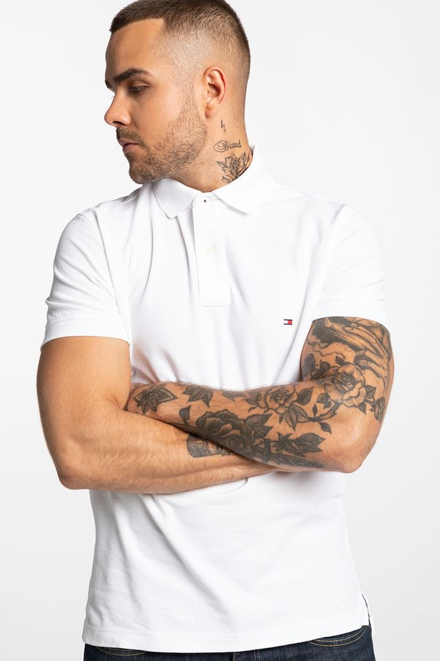 WHITE CORE HILFIGER REGULAR POLO 0867878433-100