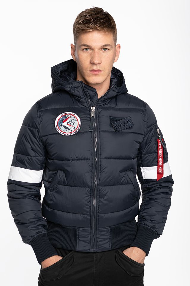 NAVY HOODED PUFFER 07