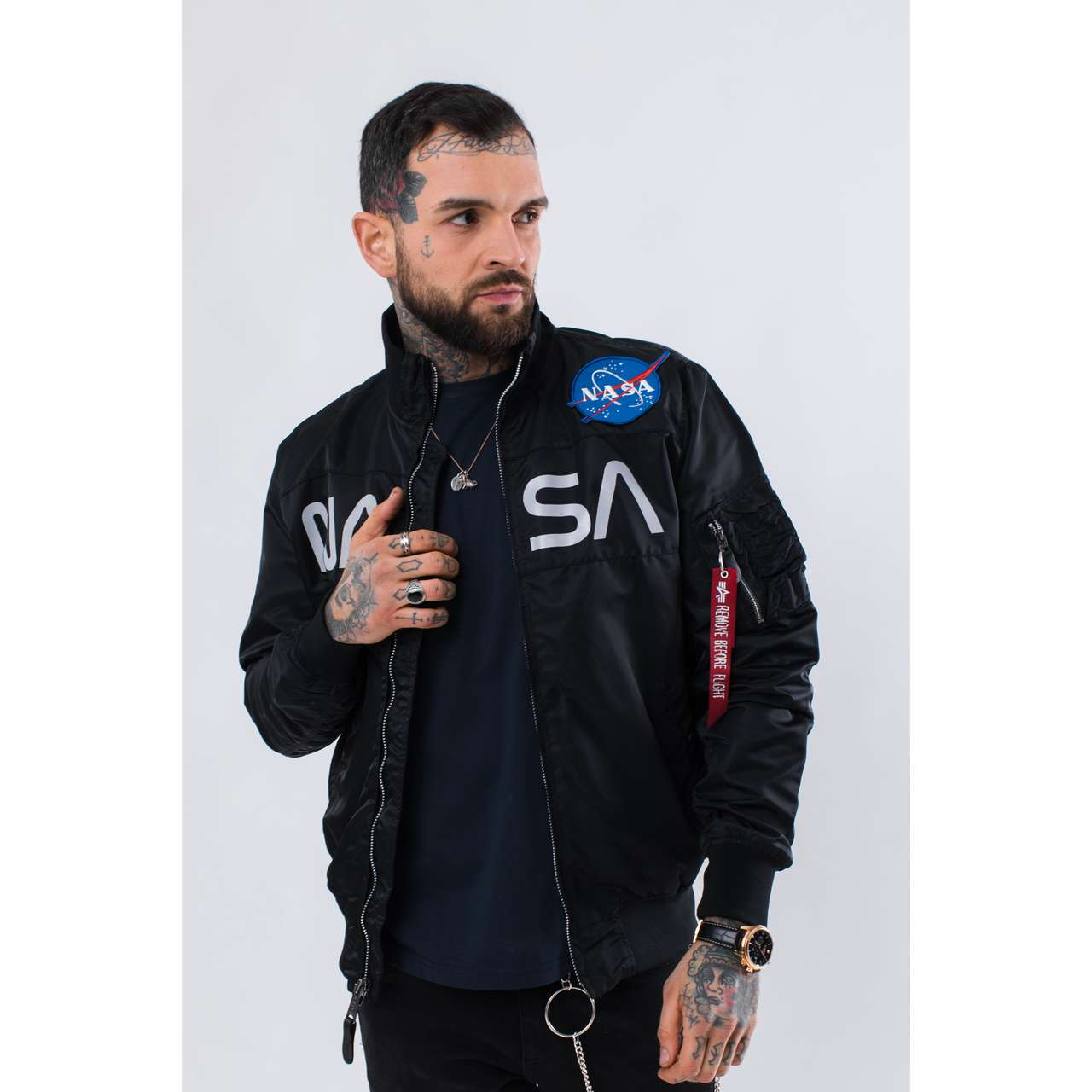Kurtka Alpha Industries  <br/><small>NASA JACKET FLIGHT NYLON 03 BLACK </small>  186124-03