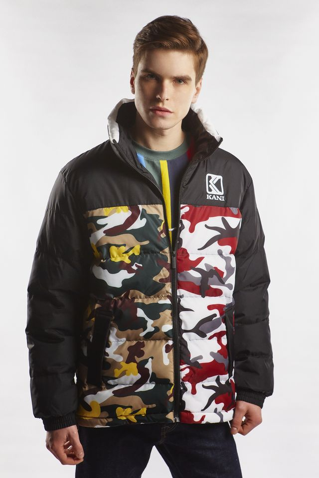 Karl Kani RETRO CAMO PUFFER JACKET 326 BURGUNDY/WHITE/BLACK/YELLOW/BROWN 6076326