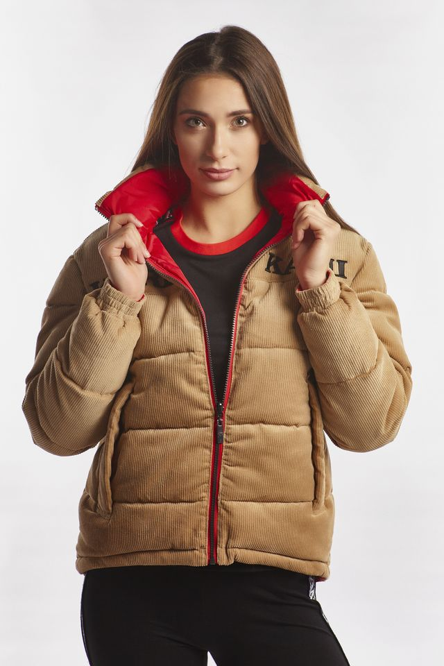 Karl Kani RETRO REVERSIBLE CORD PUFFER JACKET 167 CAMEL/RED 6176167