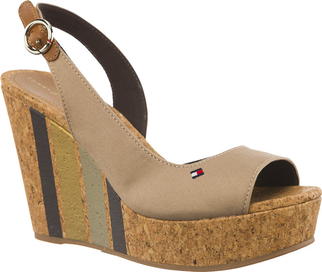 Tommy Hilfiger WEDGE WITH PRINTED STRIPES 068 COBBLESTONE FW0FW02794-068