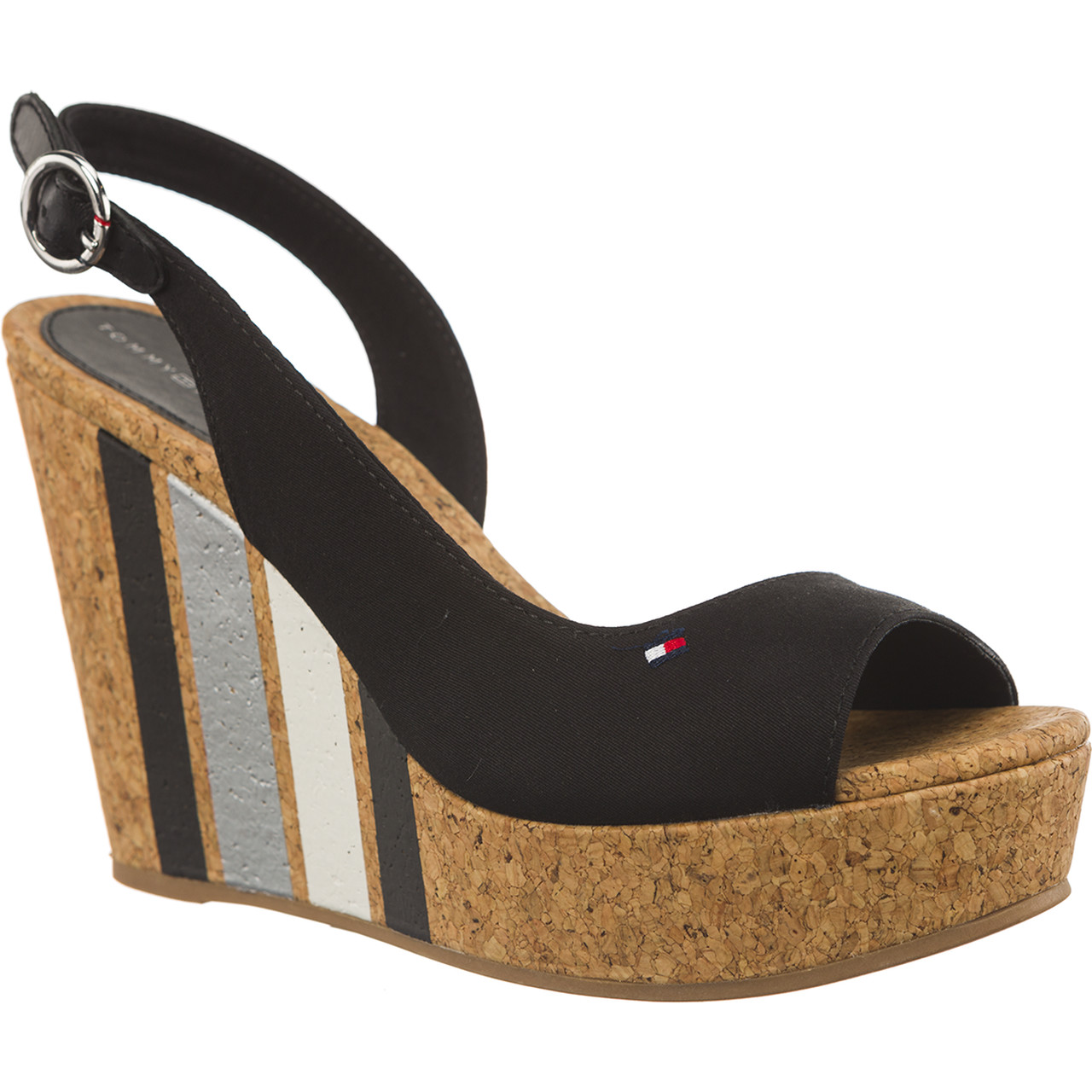 Sandały Tommy Hilfiger  <br/><small>WEDGE WITH PRINTED STRIPES 990 BLACK </small>  FW0FW02794-990