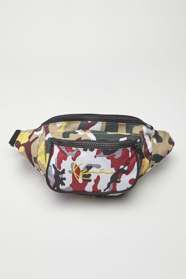 Karl Kani SIGNATURE TAPE WAIST BAG 783 BURGUNDY/WHITE/BLACK/YELLOW 4004783