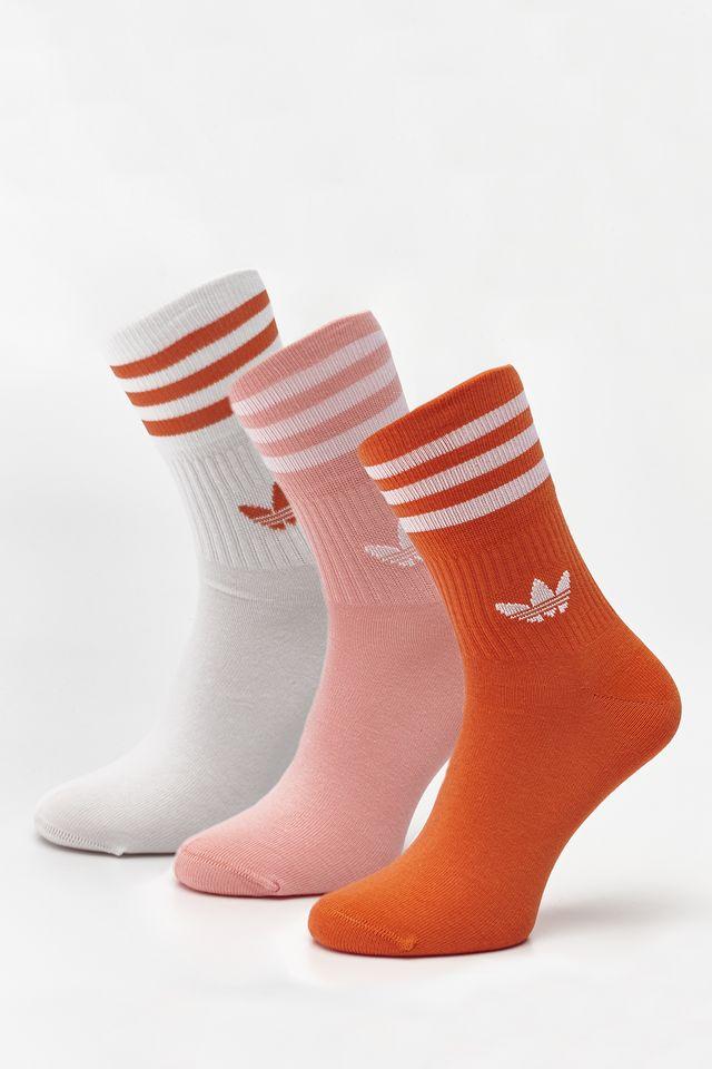 adidas 3Pack  MID-CUT CREW SOCKS 638 GLORY AMBER/GLORY PINK/WHITE FM0638