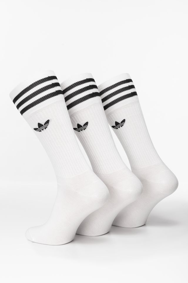 WHITE/BLACK SOLID CREW SOCK 489