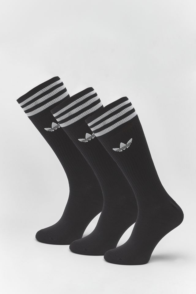 BLACK/WHITE SOLID CREW SOCKS 490