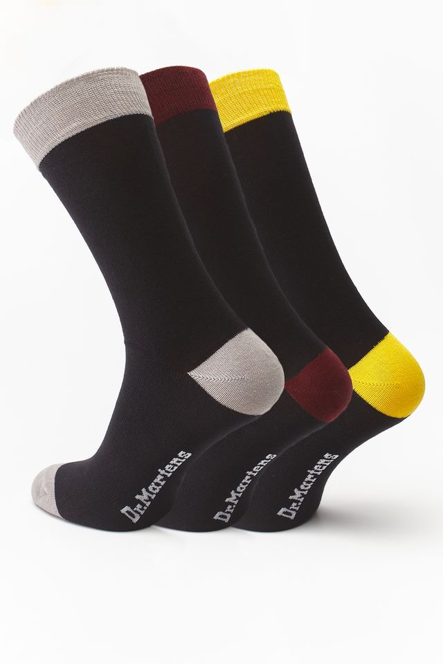 Dr. Martens 3Pack  MULTIPACK SOCK COLOUR BLOCK BLACK/CHERRY RED/YELLOW/PALOMA DMAC677001