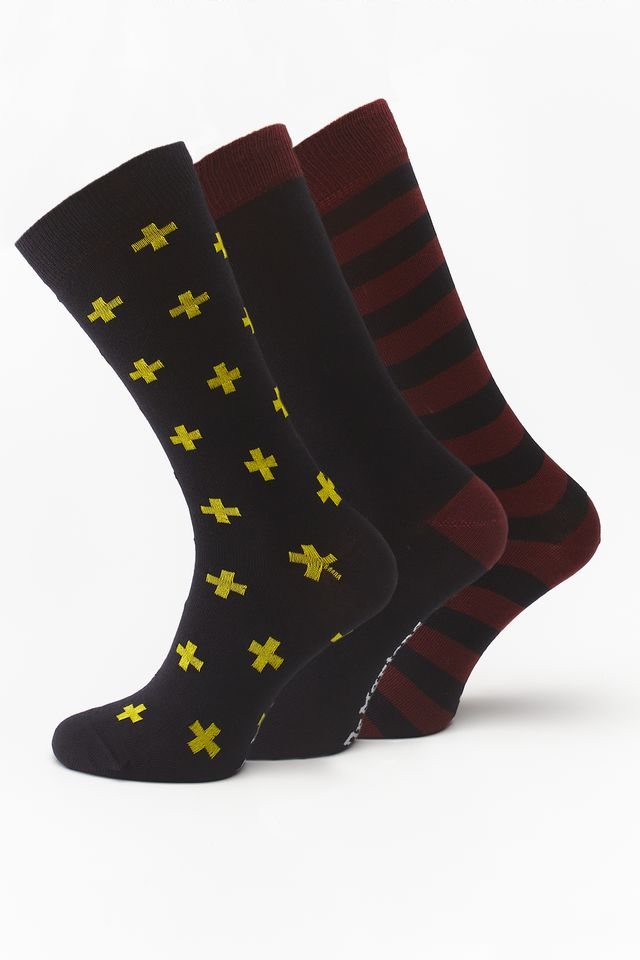Dr. Martens 3Pack  MULTIPACK SOCK MIXED CHERRY RED/PALOMA/DMS YELLOW/BLACK DMAC678600