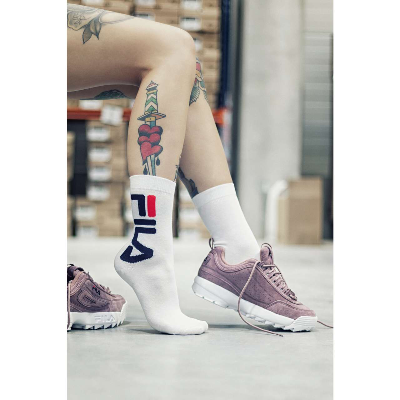 Skarpety 2Pack Fila  <br/><small>NORMAL SOCKS URBAN COLLECTION 2 PAIRS 300 WHITE </small>  F9632-300