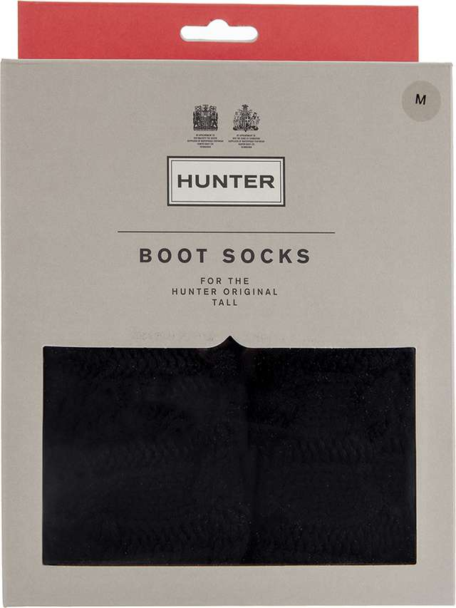 Hunter ORIGINAL TALL 6-STITCH CABLE BOOT SOCKS BLACK ACR UA