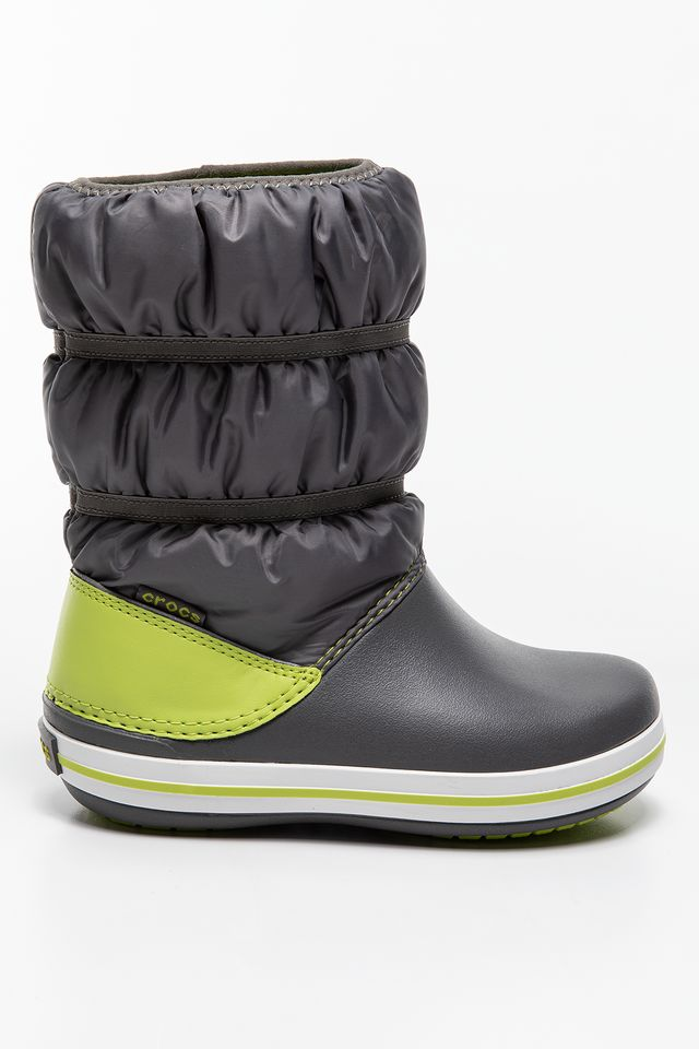 GREY/LIME PUNCH CROCBAND WINTER BOOT KIDS 206550 SLATE GX