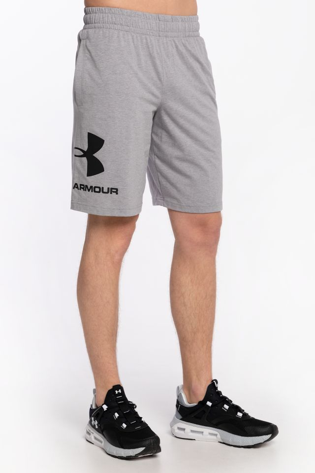 steel light heather/black SPODENKI SPORTSTYLE COTTON LOGO SHORTS 1329300-035