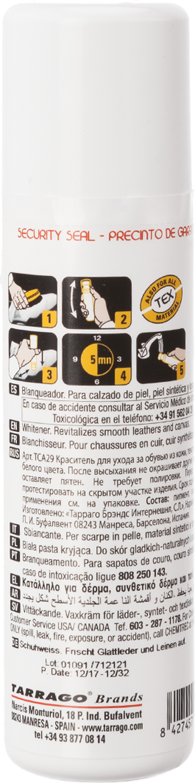 Pasta do butów Tarrago  <br/><small>SUPER WHITE 75ML </small>  TCA290000075
