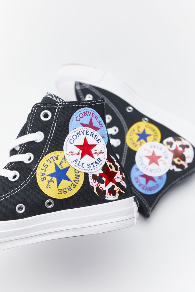 Converse CHUCK TAYLOR ALL STAR MULTI LOGO HI 734 BLACK/UNIVERSITY RED/AMARILLO 166734C