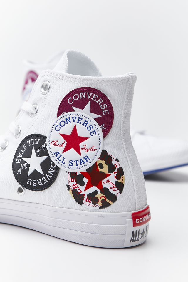 Converse CHUCK TAYLOR ALL STAR MULTI LOGO HI 735 WHITE/RUSH BLUE/ROSE MAROON 166735C