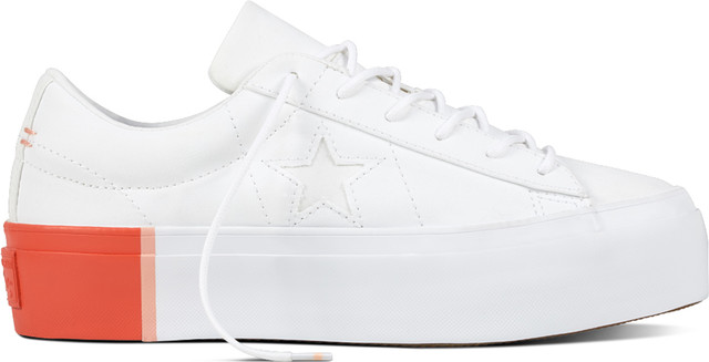 Converse 559904 ONE STAR PLATFORM COLORBLOCK WHITE/BRIGHT POPPY C559904