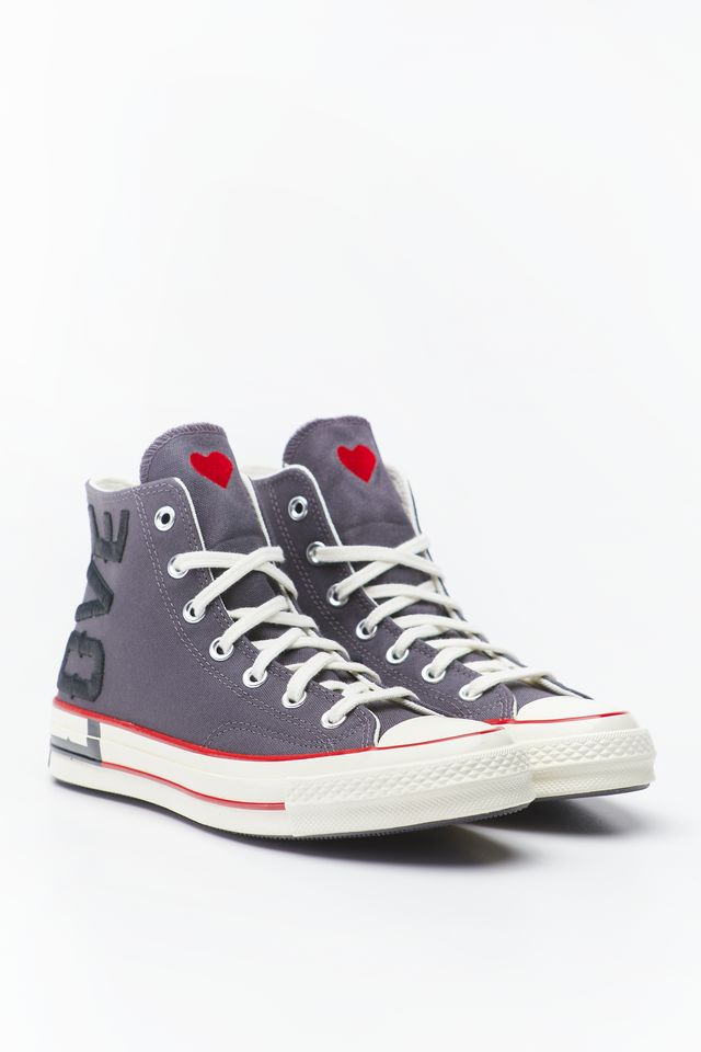 Converse LOVE FEARLESSLY CHUCK 70 HI 153 THUNDER GREY/UNIVERSITY RED 567153C